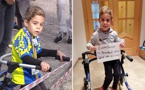 Un niño de seis años con parálisis cerebral participa en…