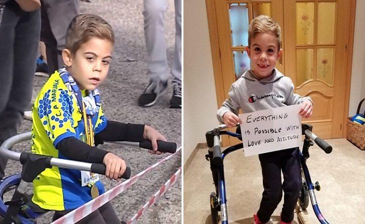 Un niño de seis años con parálisis cerebral participa en maratones, una historia de superación