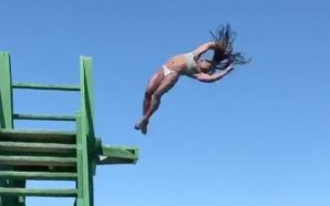 El espectacular salto de una medallista olímpica en su faceta…